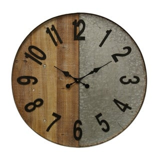 Half Wooden and Galvanized Metal Wall Clock