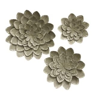 Metal Bloom Grey Wall Sculpture (Set of 3)