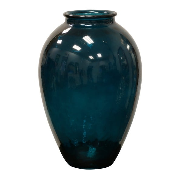 Shop Dark Green Recycled Glass Vase Free Shipping Today