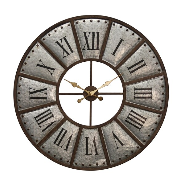 Galvanized Bronze Metal Wall Clock - Nail Head Trim