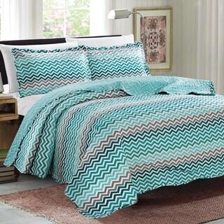 Glory Home Designs - Juliet 3 Piece Reversible Quilt Set - Aqua Zigzag