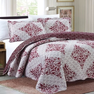 GHD - Juliet 3 Piece Reversible Quilt Set - Burgundy Damask