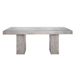 Aurelle Home Grey Concrete Outdoor Dining Table - N/A