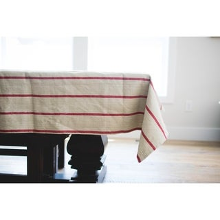 French Red Striped Tablecloth. 120-inch Long x 60-inch Wide Rectangular Tablecloth.