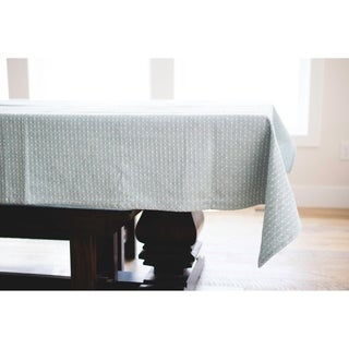 English Blue Dotted Linen Tablecloth. 90-inch Long x 60-inch Wide Rectangular Tablecloth.