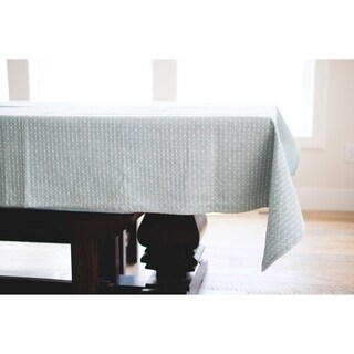 English Blue Dotted Linen Tablecloth. 120-inch Long x 60-inch Wide Rectangular Tablecloth.