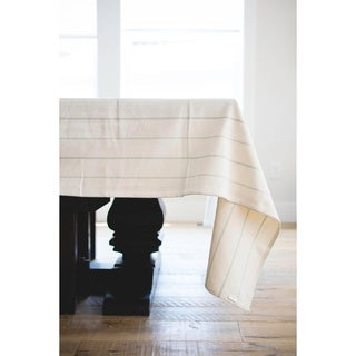 Simple English Striped Linen Tablecloth. 90-inch Long x 60-inch Wide Rectangular Tablecloth