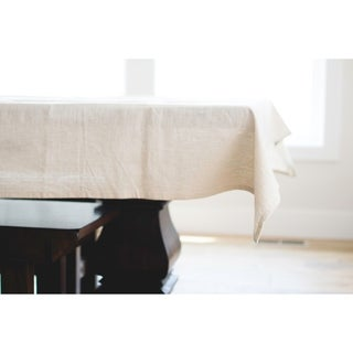 Neutral Linen Tablecloth.120-inch Long x 60-inch Wide Rectangular Tablecloth.