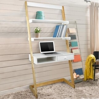 Freestanding Ladder Desk with Drawer, Solid American Maple Frame