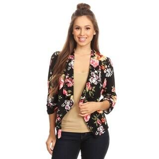 Women's Floral Draped Blazer Style Jacket
