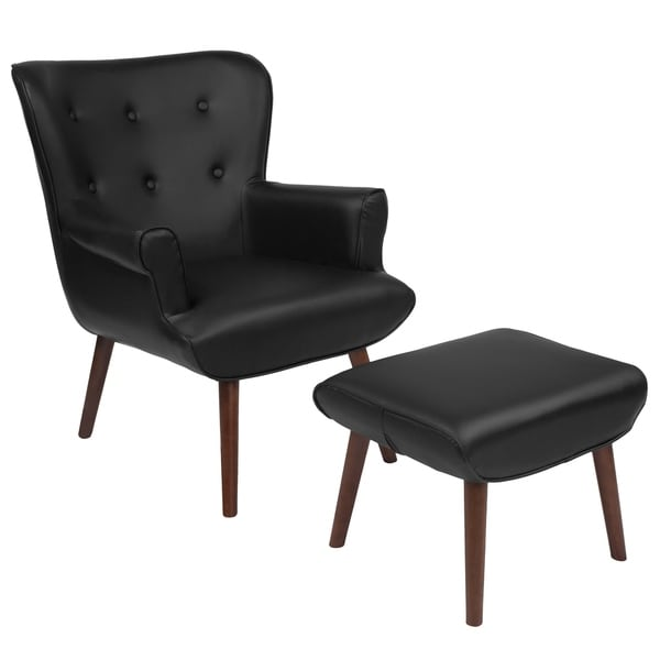 Shop Hamilton Black Leather Upholstered Chair And Ottoman