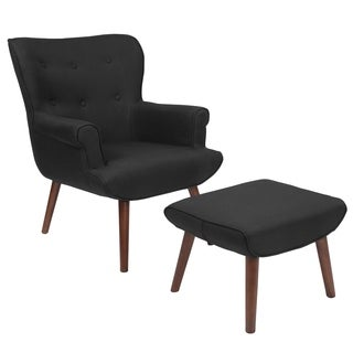 Hamilton Black Fabric Upholstered Chair And Ottoman Set