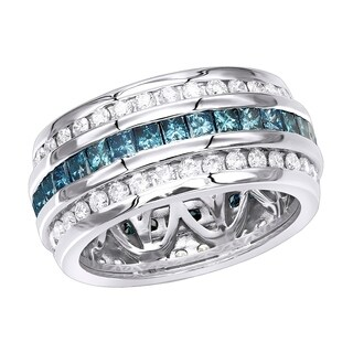 14kt Gold Diamond Band with White Round & Blue Princess Diamond Eternity Ring 2.6ctw by Luxurman
