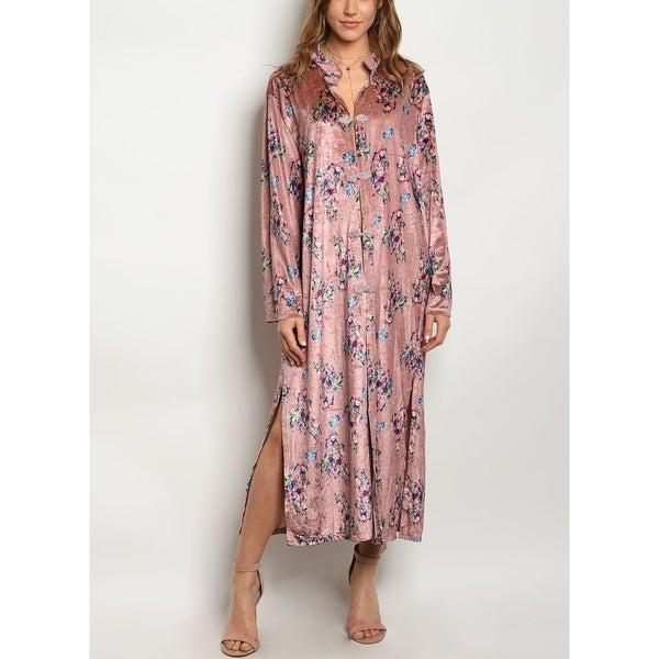d6a83697e777f8 Shop JED Women s Relax Fit Velvet Floral Shirt Dress - On Sale ...
