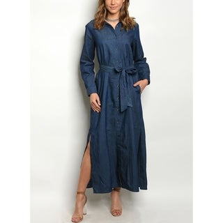 JED Women's Button Down Denim Maxi Shirt Dress with Waist Tie