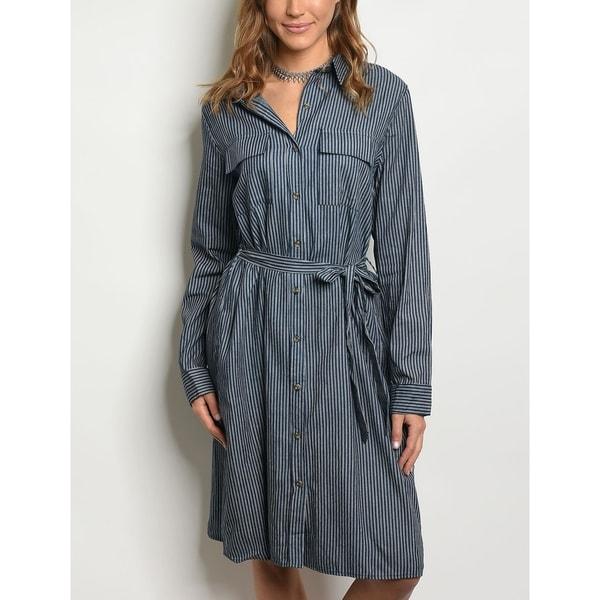 9e108bee3ee JED Women  x27 s Knee Length Button Down Denim Shirt Dress. Click to Zoom