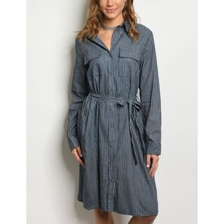 JED Women's Knee Length Button Down Denim Shirt Dress