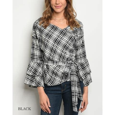 JED Women's Bell Sleeve Checks Print Wrap Blouse