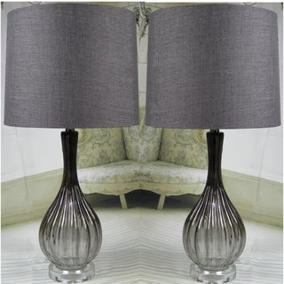 "Smoke Glass Set of 2 Lamps ""Novi"" - 28 inch"