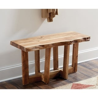 "Berkshire Natural Live Edge Wood 36"" Bench, Natural"