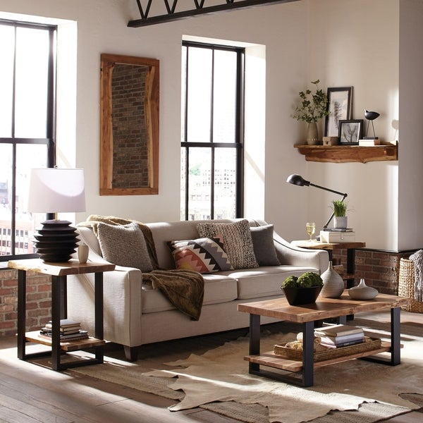30 Live Edge Coffee Tables That Transform The Living Room: Shop Alpine Natural Live Edge 2-Shelf End Table, Natural
