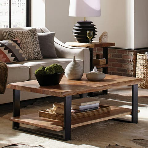 """Alpine 48"""" Natural Live Edge Wood Coffee Table, Natural"""