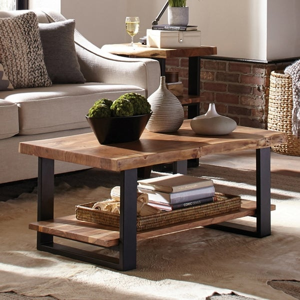 "Alpine 42"" Natural Live Edge Acacia Solid Wood Coffee Table"
