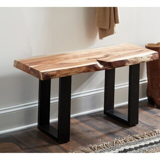 "Alpine Natural Live Edge 36"" Wood Bench, Natural"