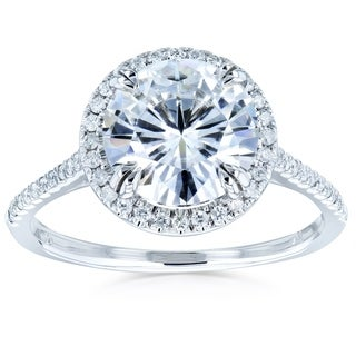 Annello by Kobelli 14K White Gold 3 2/3ct TGW Statement Round Brilliant Moissanite and Diamond Halo Engagement Ring