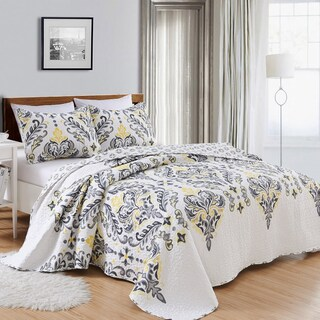 Lauretta Collection 3-Piece Reversible Geometric Printed Quilt Set with Shams (5 options available)