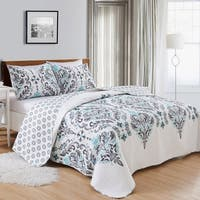 Lauretta Collection 3-Piece Reversible Geometric Printed Quilt Set with Shams