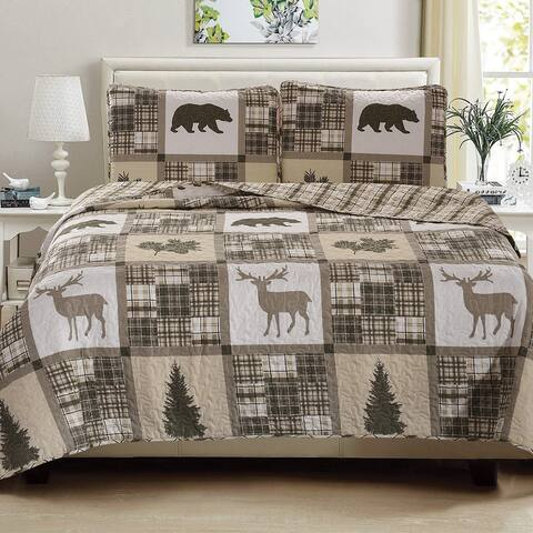 Home Fashion Designs 3-Piece Lodge Printed Quilt Set with Shams