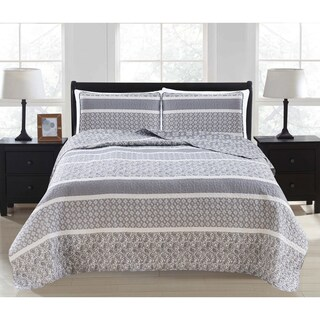 Kadi Collection 3-Piece Reversible Striped Printed Quilt Set with Shams (More options available)