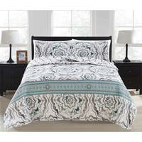 Farrah Collection 3-Piece Reversible Geometric Printed Quilt Set with Shams