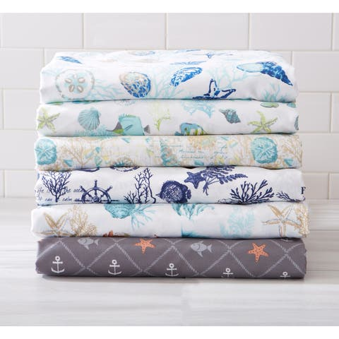 Antigua Collection 100% Microfiber Duvet Cover with Printed Coastal Pattern