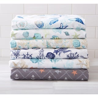 Ultra-Soft Double-Brushed Coastal Printed Microfiber Sheet Set (More options available)