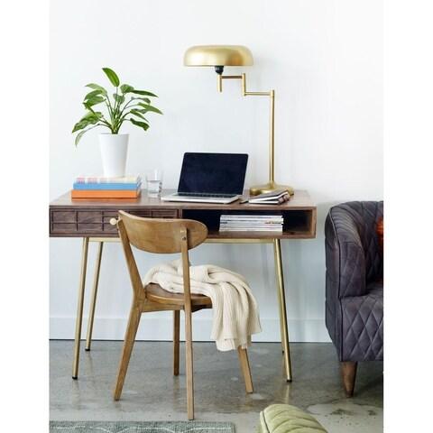 Aurelle Home Brass Mid-Century Solid Wood Desk