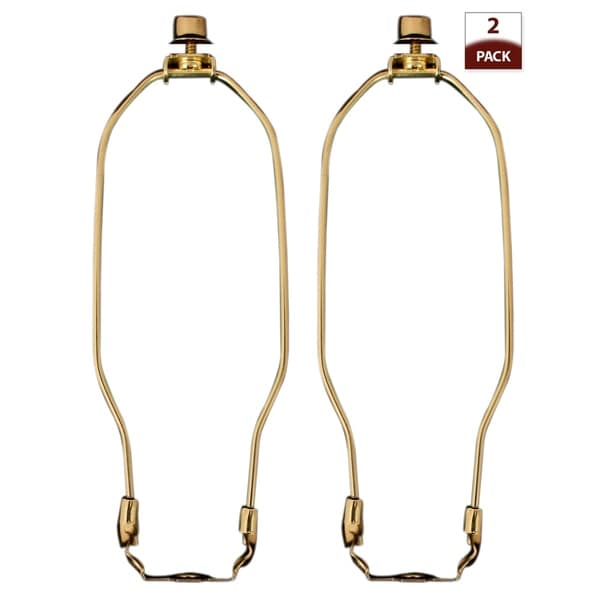"Royal Designs 7.5"" Heavy Duty Lamp Harp Finial and Lamp Harp Holder Set Polished Brass 2-Pack"