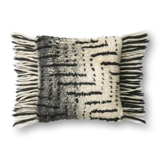 Woven Grey/ Ivory Ombre Shag 18-inch Throw Pillow or Pillow Cover with Fringe