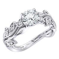 14K Gold Unique Floral Design Diamond Engagement Ring 1.1ctw G-H Color by Luxurman