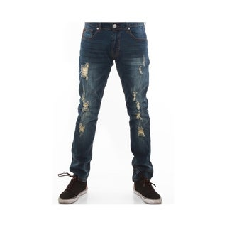 Mens Skinny Stretch Destroyed Jeans