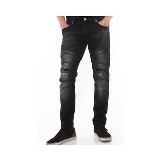 Mens Biker Style Jeans Skinny Stretch Jeans