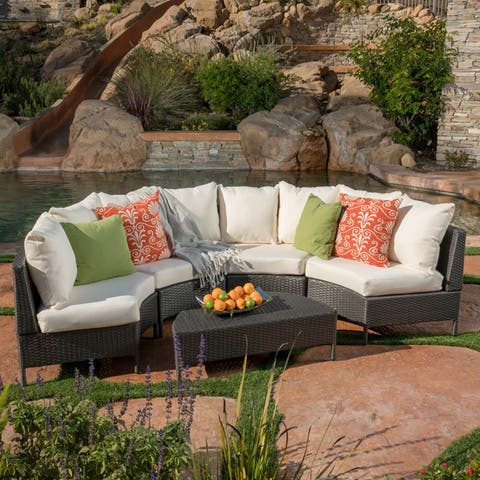 Newton Outdoor 4-seater Sectional Sofa Set by Christopher Knight Home