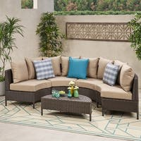 Newton Outdoor 4 Seater Curved Wicker Sectional Sofa Set with Coffee Table by Christopher Knight Home