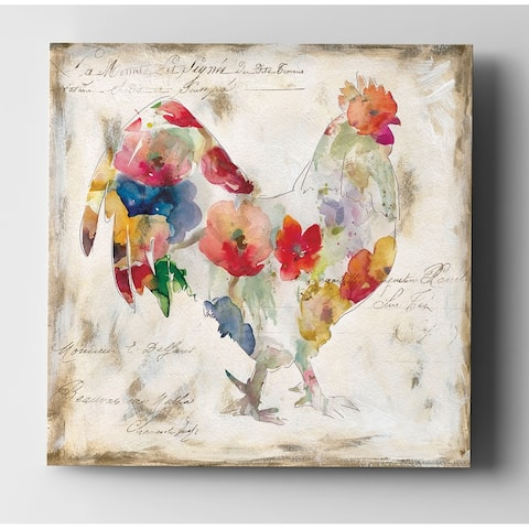 Flowered Rooster - Premium Gallery Wrapped Canvas