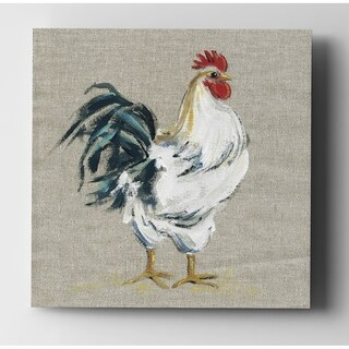 Linen Rooster I - Premium Gallery Wrapped Canvas (4 options available)