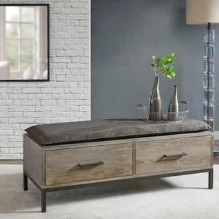 Madison Park Kagen Grey Storage Bench