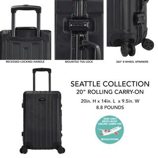 "Travelers Club Seattle Collection 20"" Hardside Spinner Suitcase"