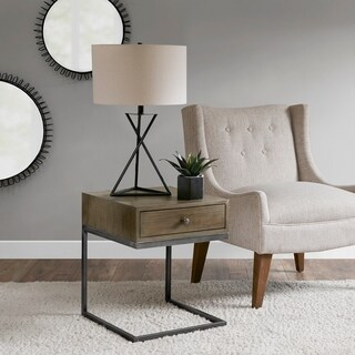 Madison Park Dudley Grey Accent Side Table With 1 drawer