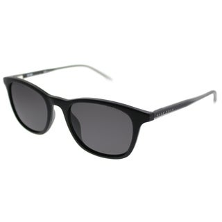 Hugo Boss Rectangle BOSS 0965 003 M9 Unisex Matte Black Frame Grey Lens Sunglasses